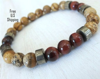 Men's Red Tiger eye, Pyrite, Jasper bracelet, tribal bracelet, wrist mala, Yoga bracelet, Reiki charged, mala beads, wrist mala, tiger eye