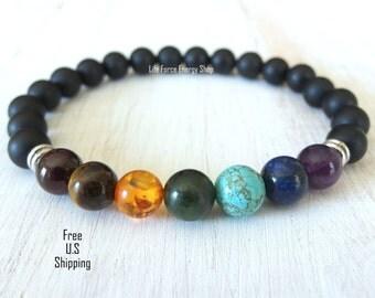 Mens 7 Chakras, chakra bracelet, wrist mala, Reiki charged, Energy bracelet, boho bracelet, tribal bracelet, yoga bracelet, Mala