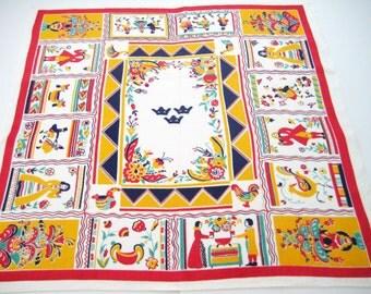 Vintage Tablecloth Tony Sarg American Folk Art Linen 1930's EXCELLENT