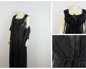 Vintage Nightgown & Peignior Set 60s Mad Men Black Chiffon Negligee and Robe Set Shadowline Modern Medium