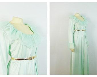 Vintage Nightgown RARE 60s Vanity Fair Peignoir Nightgown Ruffle Collar & Cuffs Seafoam Mint Green Nylon Satin Size 14 Modern Medium - Large