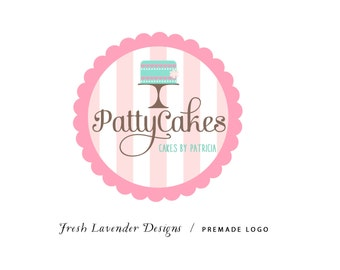 Custom Logo Design Premade Logo Design and Watermark for Photographers and Small Businesses Scalloped Frame with Hand Drawn Cake + Stripes