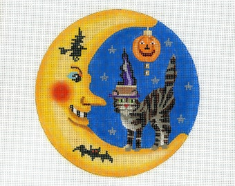 Halloween Needlepoint Moon and Cat Canvas - orange, yellow, blue - Handpainted Needlepoint - Ornament in Moon