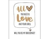 Will you be my Bridesmaid? Bridesmaid Card. Bride Tribe. Letterpress Invite. Bridesmaid Proposal Card. DeLuce Design