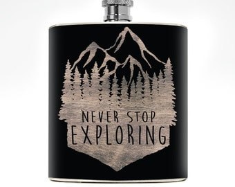 Mountain Flask Mens Flask Womens Liquor Wedding Groomsmen Wanderlust Adventure Boyfriend Birthday Outdoorsman Outdoorsy Mountain Man Gift