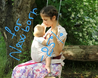 Soft baby sling wrap - baby sling for newborns - handwoven sling wrap  - natural  colors sling -  pink strips BaBy SaBye