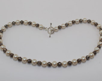 Pearl and Sterling Silver bead necklace and earring set