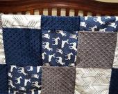 Deer Baby Boy Blanket- White Gray Arrows, Navy Deer, Navy, and Gray Patchwork Blanket
