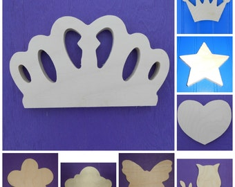 "Wood Shapes - 7"" Size - Fairy Tale -Unpainted Wooden - Wall Hanging Decor - Kids Craft - DIY Project - Multiple Options"