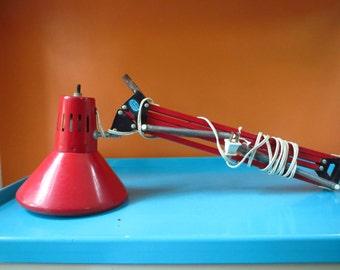 Vintage 1970s MID Century Modern Red Metal Industrial Drafting Desk Swing Arm Lamp