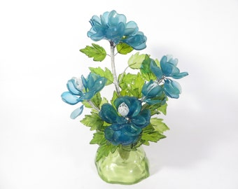 Vintage Lucite Blue Flower Bouquet - 1970s Acrylic Lucite Blue Flowers