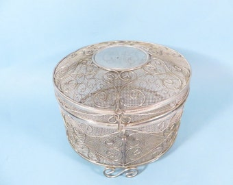 Vintage Round Mesh Silver Plate Jewelry Box - Vintage Silver Plate Monogrammed Mesh Box
