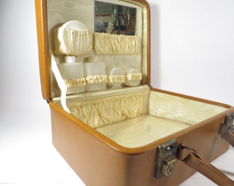 Vintage Brown Leather Train Make Up Case - Brown Leather Cloth Made in England Cosmetic Toiletry Case