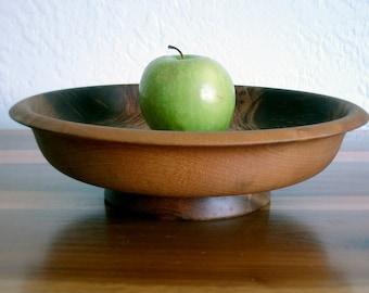 """10% OFF - Vintage Myrtlewood 12"""" Bowl with Pedestal"""
