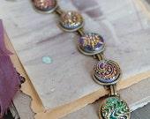 Antique Button Bracelet, Czech Glass Buttons