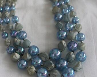 Sky Blue Lucite Multi Strand Necklace