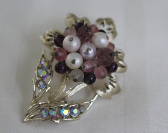 Purple Cha-Cha Flower Brooch with Rhinestones