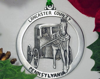 Lancaster Pennsylvania Christmas Ornament made from Fine Pewter in America