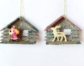 RESERVE for Betsy - putz house ornaments, 2 Christmas ornaments, Japan 1950s, vintage Christmas decor