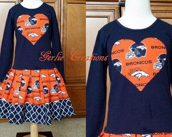 Girls Broncos Dress, Girls Dress, Denver Broncos, Blue Orange, Toddler Girls - S 5/6 2T 3T 5T