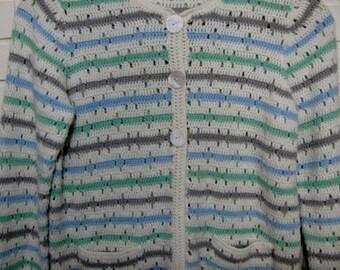 Vtg striped cardigan sweater size S