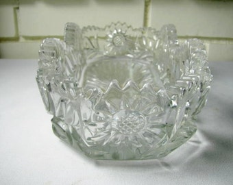 Vintage heavy pressed glass celery dish