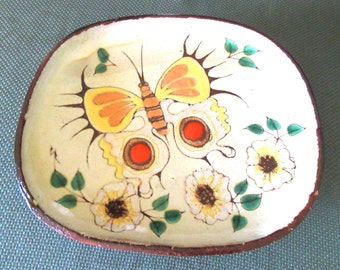 Vintage 1960's Chelsea Pottery Footed Butterfly Platter With Tag Plate Wall Plaque by Barbara Ross English Pottery Home Decor Table ware