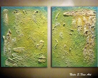 "Original ART.Modern Abstract Heavy Textured Painting.Large Artwork.Palette Knife.Yellow,Green.Modern Wall Art 28"" x 44""  -  by Nata S."