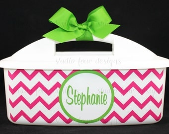 Preppy Monogrammed Shower Caddy {LARGE} - Must-Haves for Dorm Room & Sorority House - Most Popular Graduation Gift - Assorted Colors/Designs