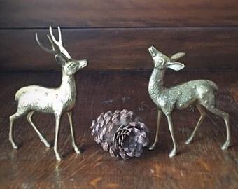 Vintage Brass Deer Pair, Stag and Doe, Woodland Animal, Brass Figurine, Cottage Decor, Holiday Decor