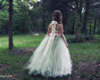 Flower Girl Dress Blossom Pink and Ombre Sage Tulle