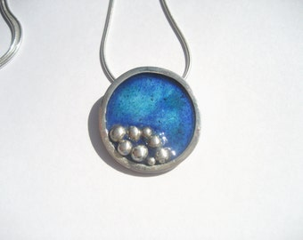 Sterling silver rock pool necklace with transparent enamels and silver pebbles