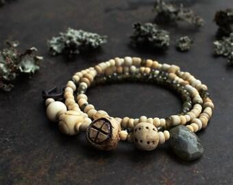 Solar cross bracelet, triple wrap bracelet, Norse amulet bracelet, rustic white bracelet, bronze age jewelry, earthy labradorite bracelet