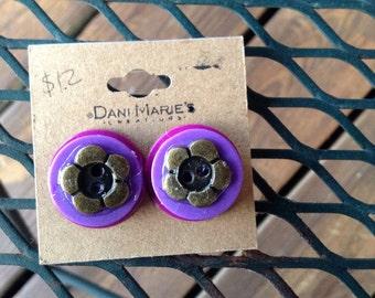 Vintage button stud earrings