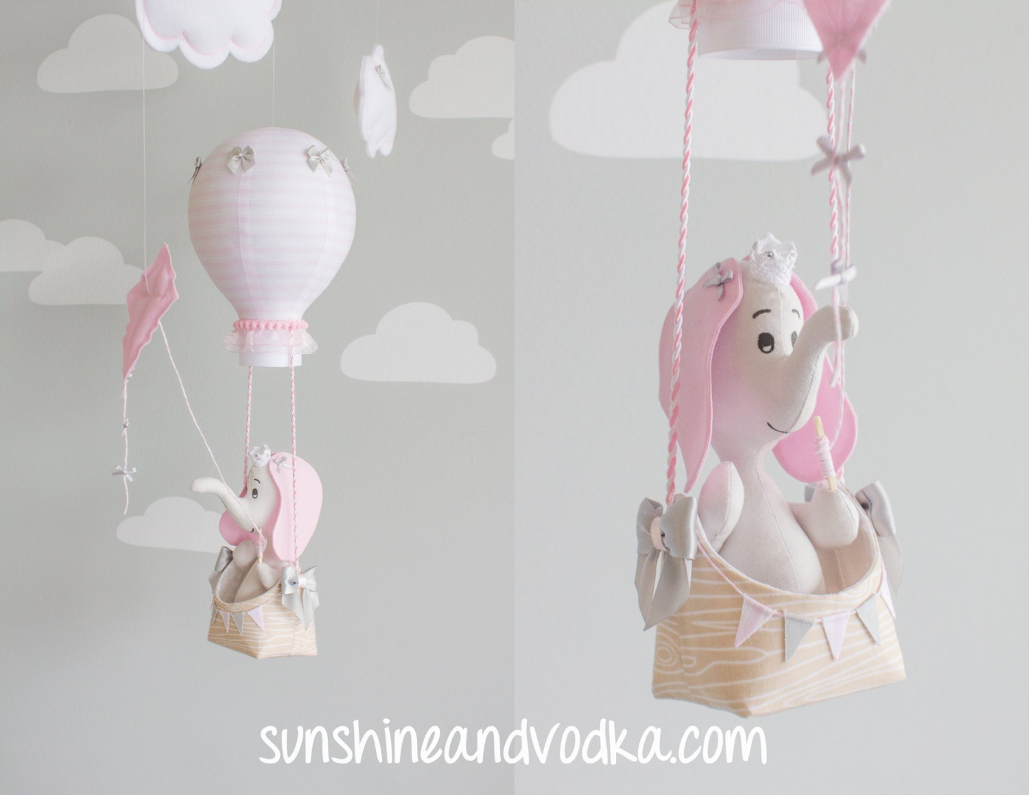 Elephant Baby Mobile Pink And Gray Nursery Decor Hot Air