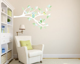 nursery decal - wall decals - tree branch - owl tree branch - bird decal - vinyl wall decal