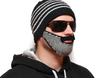 Knitted beard beanie - Beard Hat, beard head, beard winter, beardhead, hats with beards, knitted beard, crochet beard hat, beanie with beard