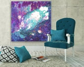 Large Abstract Painting - 'We Were All Stardust' - Blue, Turquoise, Purple, and White Abstract Expressionist Acrylic Painting on Canvas