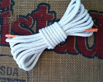"5 Yards of 3/16"" 100% Cotton Rope - Made in America - Solid Braid Rope, Nautical Decor, Rope Cord, Natural/White"