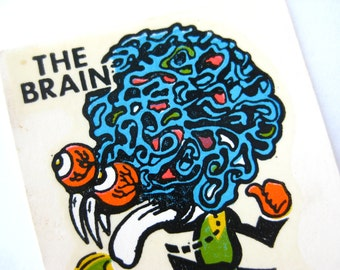 Vintage 60s The Brain Ed Roth Weirdo Monster Window Water Decal Transfer