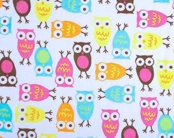Minky fabric by the yard- Robert Kaufman Night Owls carnival- owl minky fabric- one yard