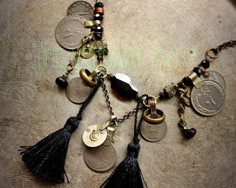 10% OFF Tribal Fusion Necklace with Raw Garnet, Silk Tassels, Tribal Kuchi Coins