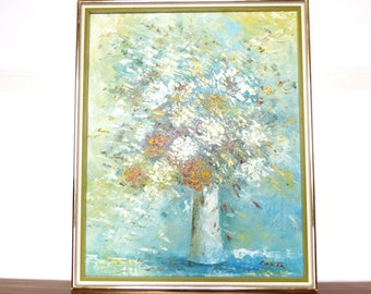 Mid Century Floral Oil Painting by Costa on Canvas Original Flower Still Life