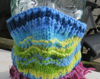 Hand knitted ski mask in variegated blue and yellow