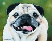 Custom dog portrait hand painted on a 10x14 canvas, pug portrait, pet painting from your photo