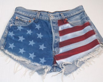 Hand painted Levi's flag cut-off shorts