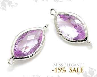 2pcs Lavender Marquise Textured Bezeled Faceted Glass, Pendants, beads, Rhodium Plated, Necklaces Jewelry Findings // G13N-101-BR