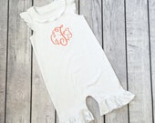 Monogrammed Angel Sleeve Romper. Baby shower gift with monogram. Baby girl outfit with initials. Newborn baby present. Baby layette item.