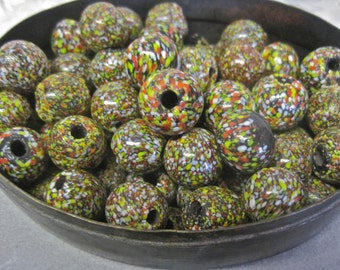 Glass Beads Handmade Heavy Large Focal Speckled CONFETTI Shiny Boho Tribal LOT of 10 Handcrafted Artisan Hippie Ethnic Each OOAK