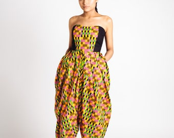 African Print Strapless Bianca Jumpsuit Pink Green and Black